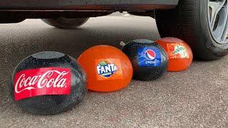 Experiment Car vs Coca Cola, Fanta, Mirinda Balloons   Crushing Crunchy & Soft Things by Car   03