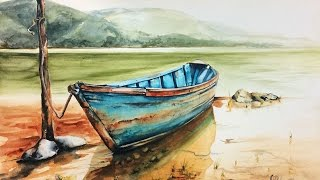Watercolor Wooden Boat on a Lake Painting Demonstration