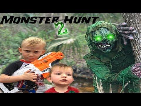 Monster Hunt 2 The Creature Returns! Nerf Battle Against Backyard Creature!!