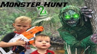 Monster Hunt 2 The Creature Returns! Nerf Battle Against Backyard Creature!!