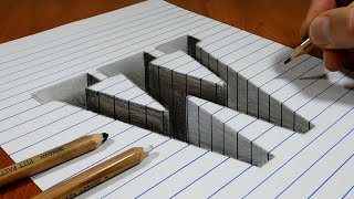 Draw a Letter W Hole on Line Paper   3D Trick Art