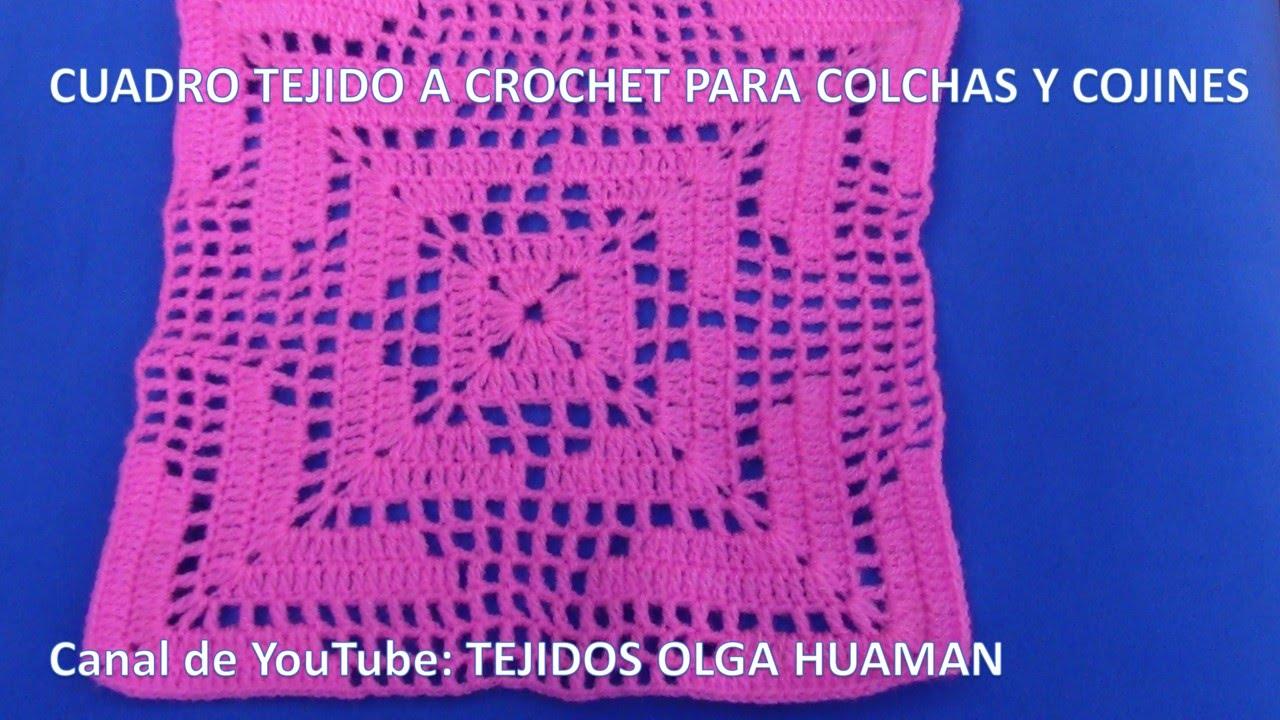 Cuadro Fácil De Tejer A Crochet Para Colchas Cubrecamas Y Cojines