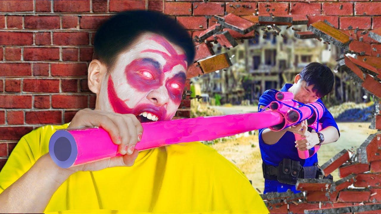 Battle Nerf War SQUAD S.W.A.T use super long NERF MOD & Blue Police nerf guns ZOMBIES REAL BATTLE