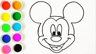Dibuja y Colorea Mickey Mouse - Dibujos Para Nios - Learn Colors  FunKeep
