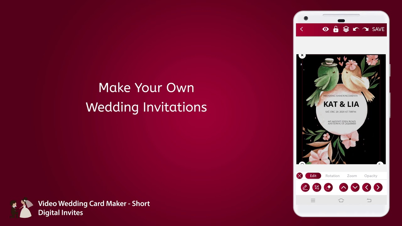Video Wedding Card Maker Short Digital Invites