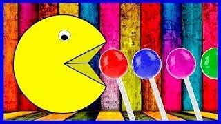 Aprender cores com pacman lollipop para crianças crianças crianças - aprender cores para crianças