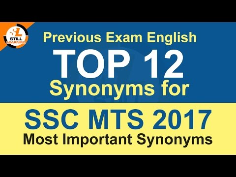 Top 12 Synonyms for SSC MTS 2017, Previous Multi Tasking Exam English