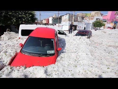 Bizarre summer hailstorm covers Mexico's Guadalajara in ice
