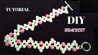 Beaded bracelet. Pearl bracelet making. Jewelry making tutorial for beginners
