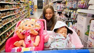 Shopping with Baby Alive Poops and Pees Doll and with Reborn Baby Doll at Walmart