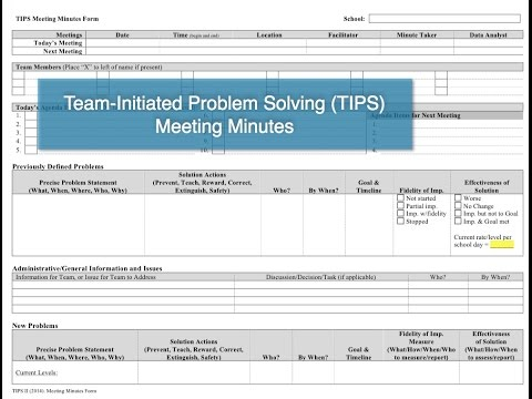 Meeting Minutes in Team-Initiated Problem Solving