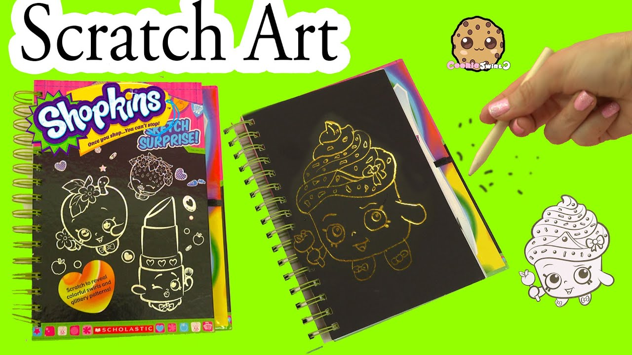 Shopkins sketch surprise scratch drawing art book limited edition cupcake queen cookieswirlc youtube