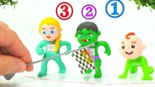 SUPERHERO BABIES RACE ❤ Spiderman, Hulk & Frozen Play Doh Cartoons For Kids