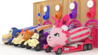 Learn Colors For Children with 3D Animals Cars (Dog Car, Cat Car, Monkey Car, Rabbit Car)