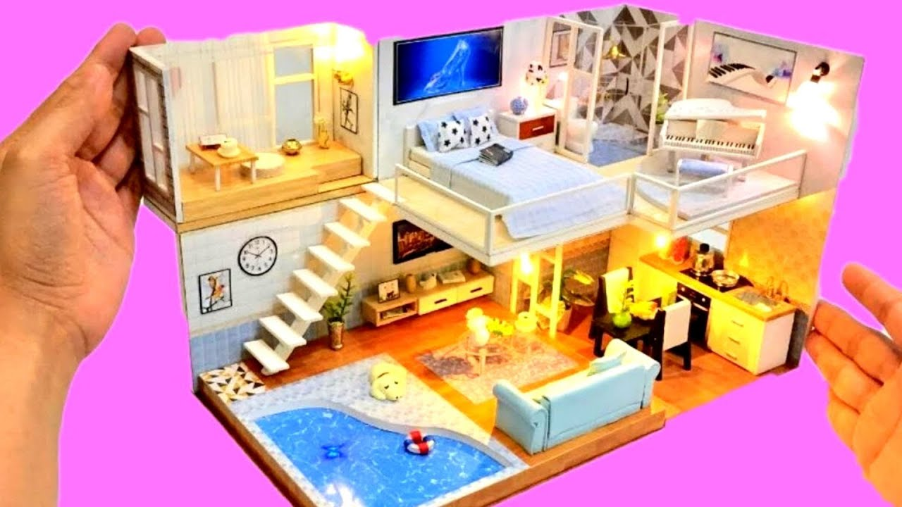 4 Diy Miniature Dollhouse Rooms Cinderella Modern Dollhouse With Swimming Pool Youtube