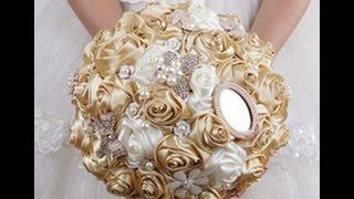 Свадебный букет невесты, из атласных лент на AliExpress