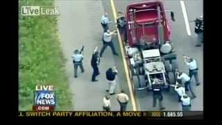 Police chase a hijacked big rig