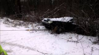 How to winch a car from a ditch