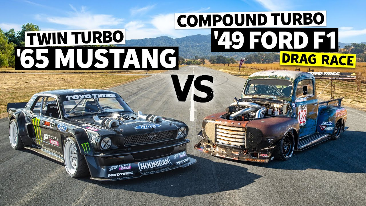 1,200hp Compound Turbo Diesel F100 Vs Ken Block's 1,400hp AWD Ford Mustang // Hoonicorn Vs the World