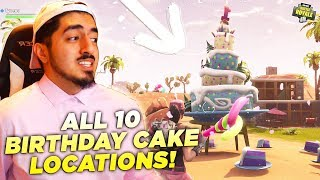 """""""Dance in front of Different Birthday Cakes"""" ALL 10 LOCATIONS! Fortnite Birthday Challenge EASY!"""