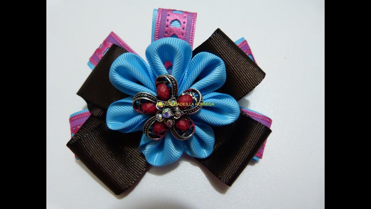 como hacer flores en cinta, moños y accesorios para el cabello paso a paso , YouTube