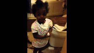 19 month old plays in toilet tissue