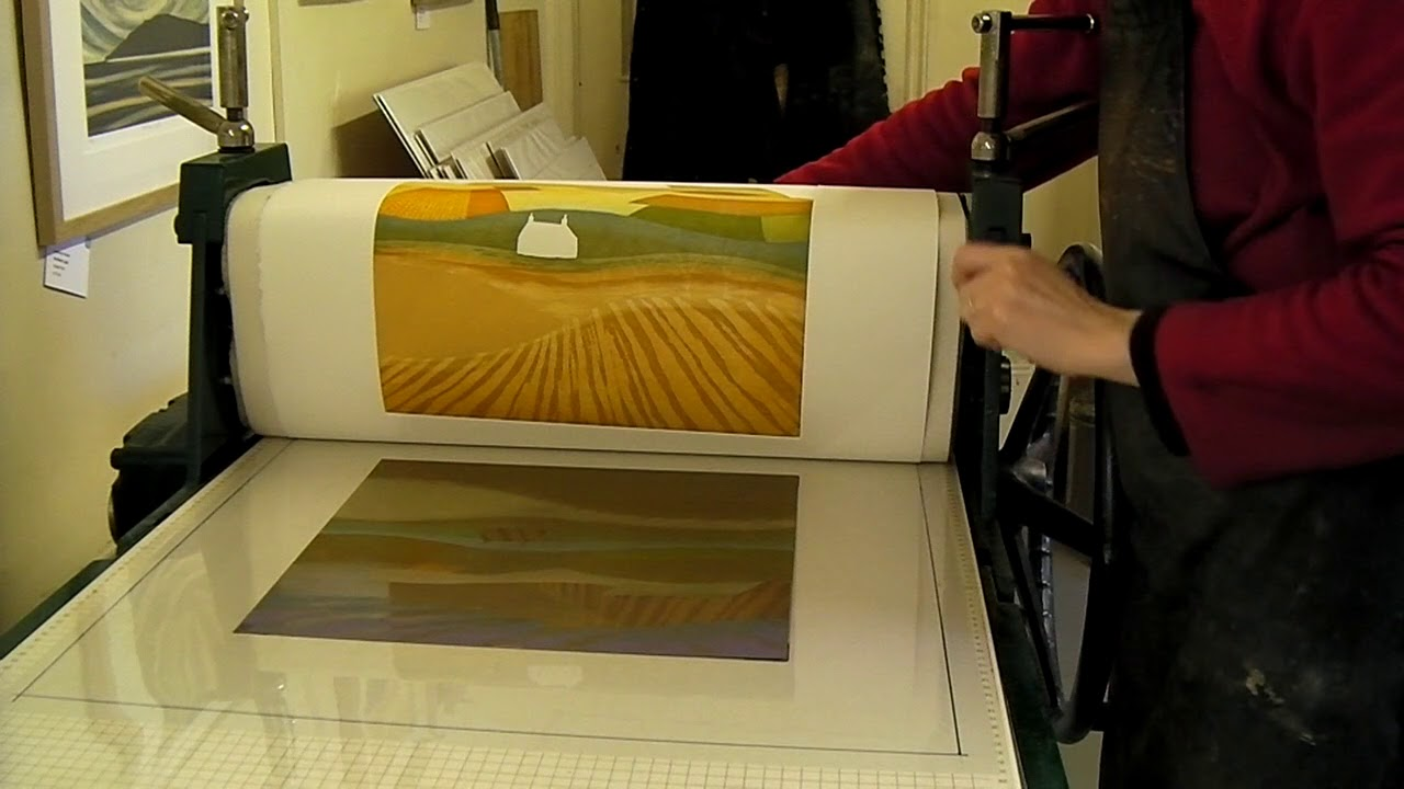Rebecca Vincent prints Plough the Fields two-plate multi-colour etching