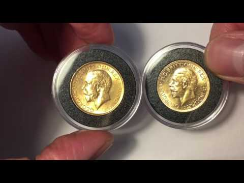 King George V Gold Sovereign Big Small Head Comparison