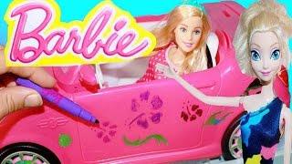 Barbie Car Wash Doll with Disney Frozen Elsa Dolls Barbie MAKEOVER DIY Color Change Fun