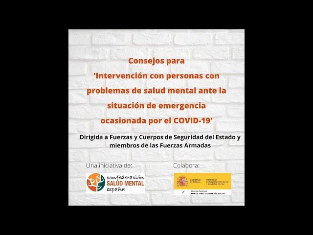 Intervención con personas con problemas de salud mental ante la situación de emergencia por covid19