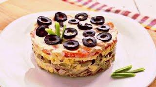#Рецепт слоеного салата с курицей, грибами, томатами. Вкусно и Быстро, готовим дома