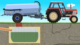 The Farmer Farm Work - Liquid Manure Spreader | Bajki Traktory - Wóz Asenizacyjny | Szambo Bajka ☻😚