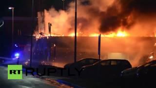 Sweden: Watch as HUGE fire wrecks garage