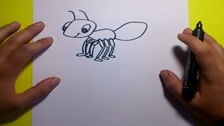 Como dibujar una hormiga paso a paso | How to draw an ant