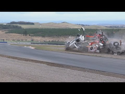 SMRC Sports & Saloons 2018. Race 2 Knockhill Racing Circuit. Kenneth McKell Huge Crash Flips