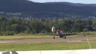 """Åpen dag Kjeller Flyplass - P-51 """"Shark"""" og Spitfire landing + F-16"""