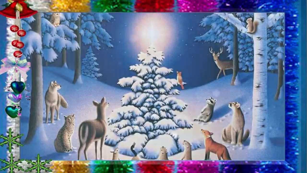 Картинки зима в лесу елки и звери