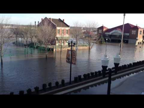 Peoria riverfront under water - Midwest flood Illinois