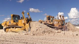 2 Of The Largest Dozers In Denmark Pushing Lime Cat D10N And Komatsu D375A