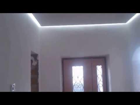 Процесс изготовления Гипсокартонного парящего потолка со скрытым освещением светодиодной лентой
