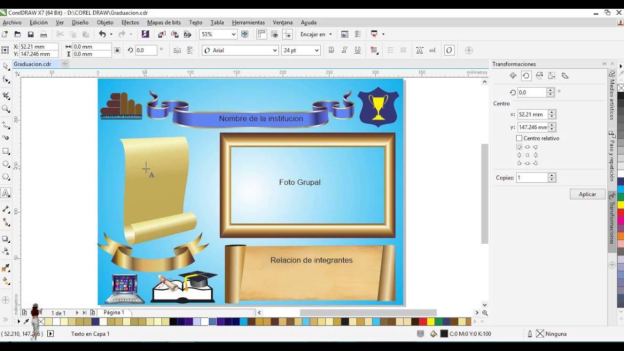 Corel Draw Diseño de Diploma de recordatorio y graduacion - YouTube