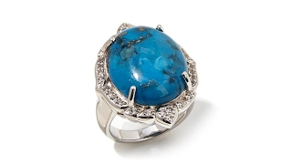 Colleen Lopez Turquoise and White Topaz Ring thumbnail