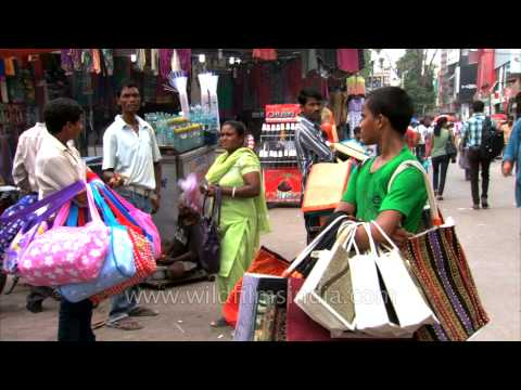 Bag sellers at Lajpat Nagar Central Market, Delhi