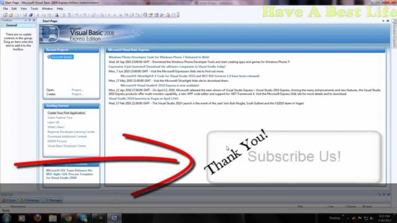 Tutorial Register In Visual Basic 2008 Express Edition Free Youtube