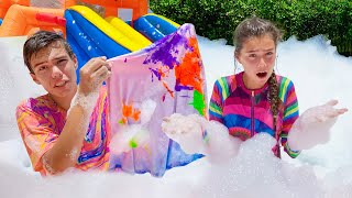 Nastya and Artem have a foam party