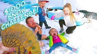 Last to Leave the Snow Wins $1000! Freezing Challenge! / The Beach House