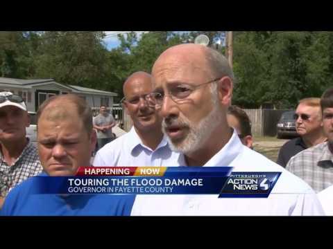 Gov. Tom Wolf tours Fayette County flood damage