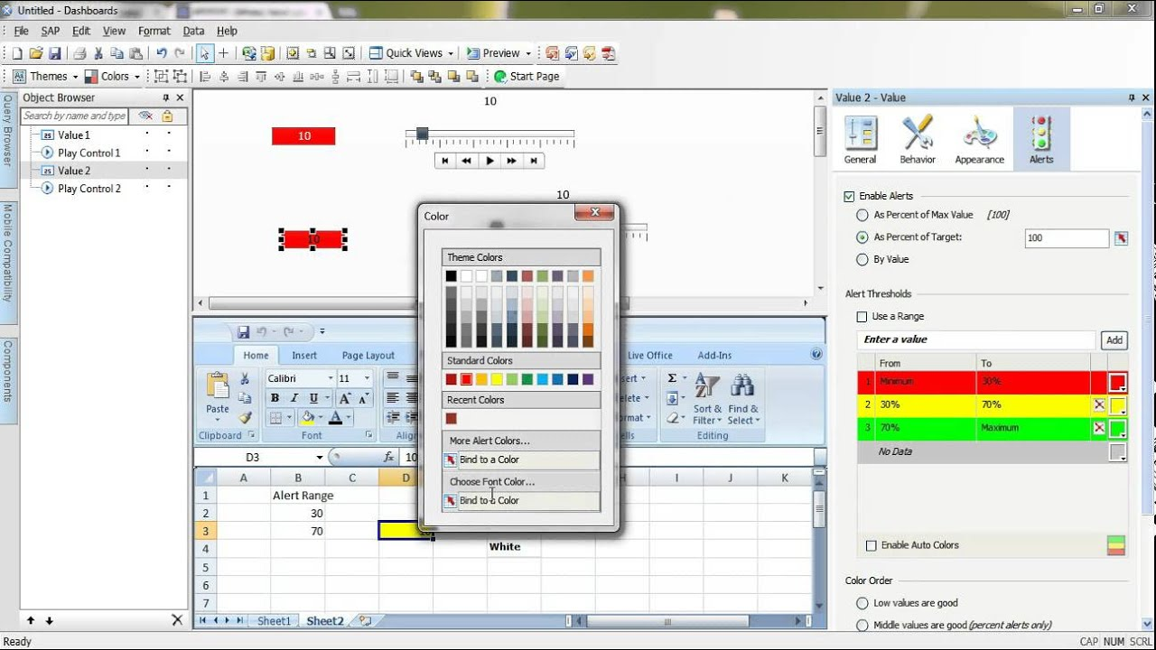 SAP Dashboard Designer (Xcelsius) Session # 3 [Color binding ...