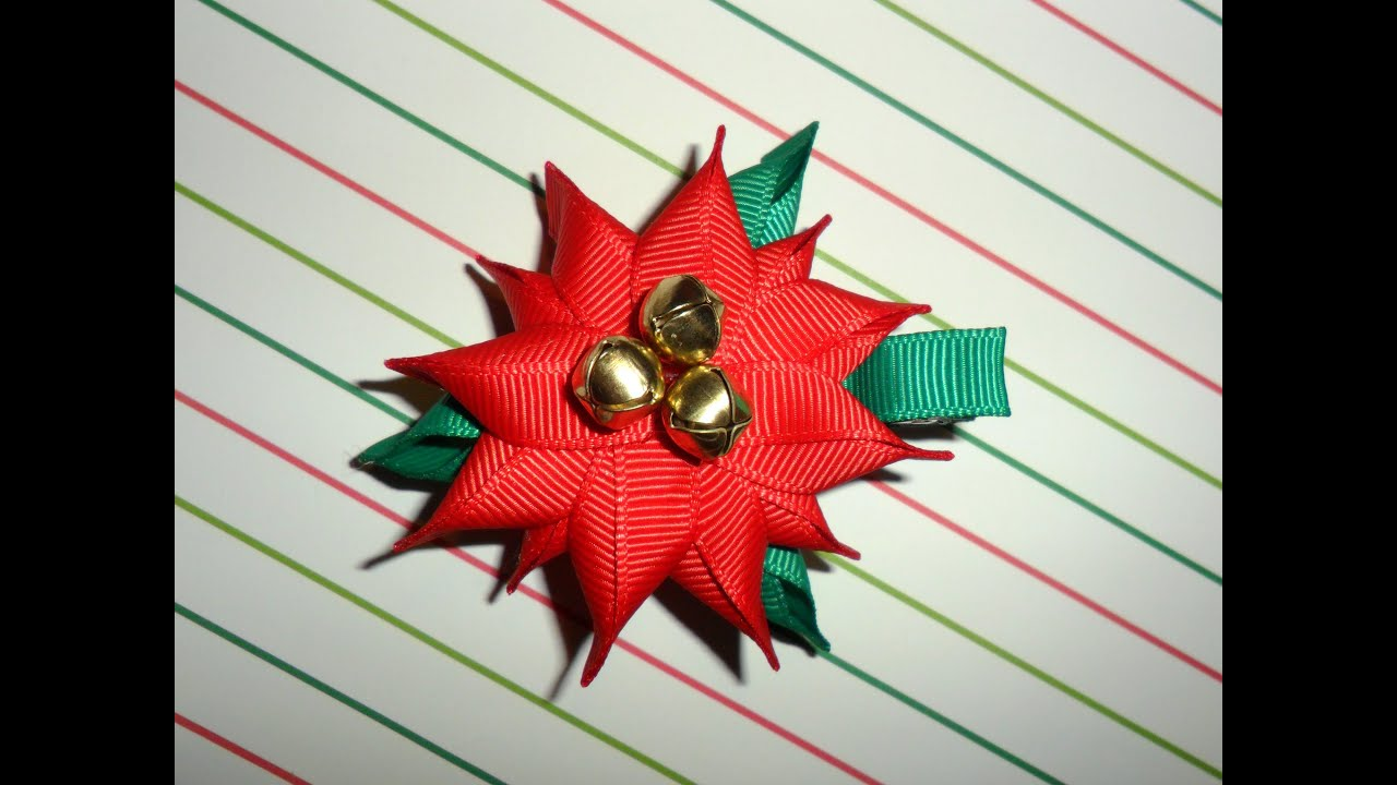 poinsettia ribbon sculpture christmas holiday hair clip