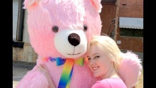 very large pink teddy bear 6 feet tall luxorious shaggy fur personalized free made in usa